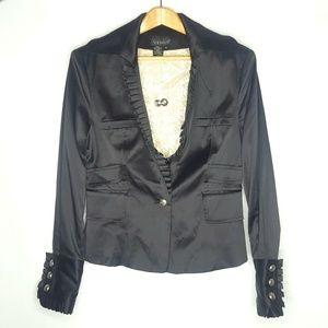 Venus Black Satin Ruffled Blazer Size 8
